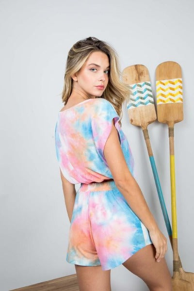 Cropped Tie Dye Shorts Set
