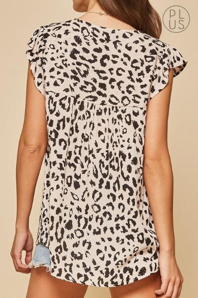 Plus Embroidered Front Leopard Top