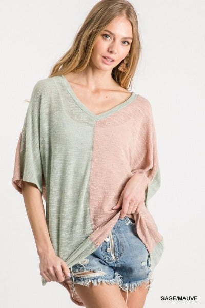 Color Duo Knit Top