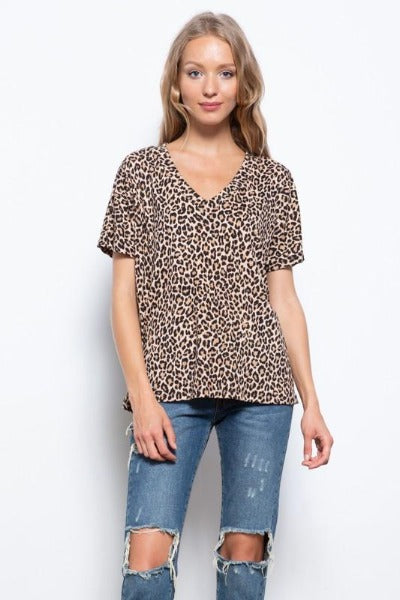 Leopard V-Neck Lounge Top