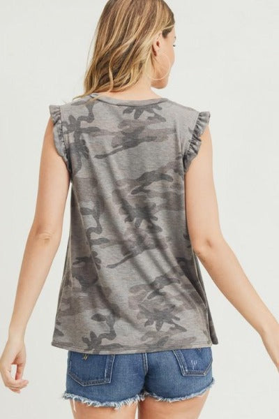 Ruffle Cap Sleeve Camo Top