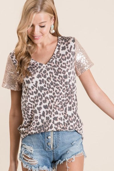 Sequin Sleeve Leopard Top