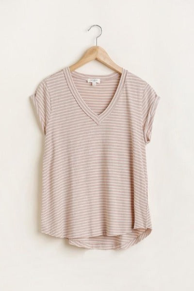 Stripe V-Neck Cuff Sleeve Top