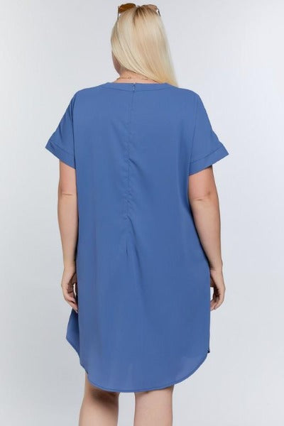 Plus Front Pleat Shift Dress