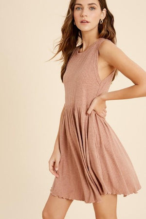 Ruffle Waist Ribbed Dress