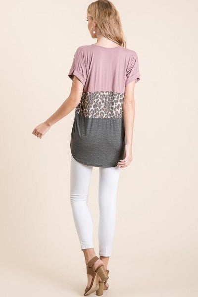 Roll Sleeve Colorblock Leopard Top