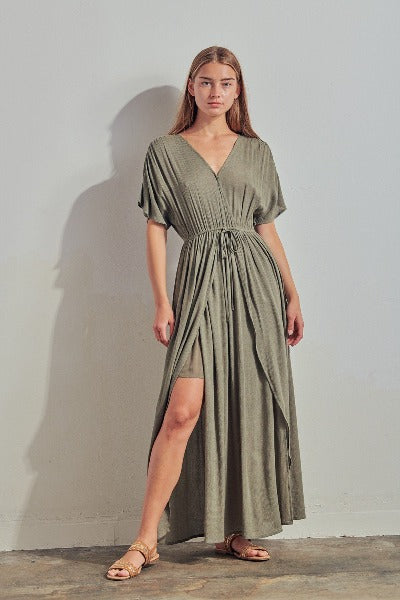 Surplice VNeck Maxi Dress