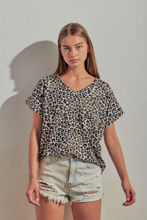 V-Neck Cuff Sleeve Animal Top