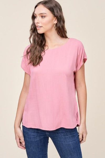 Rayon Button Back Top