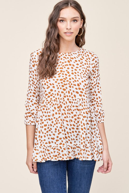 Spotted Rayon Ruffle Bottom Top