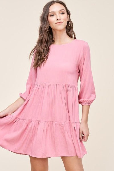 3/4 Sleeve Solid Tiered Dress