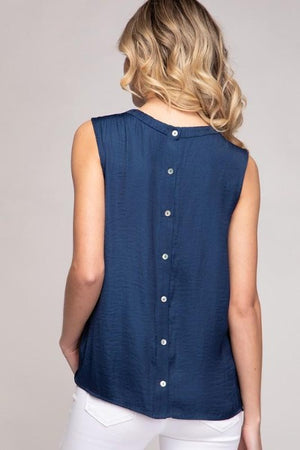 Button Back Satin Tank