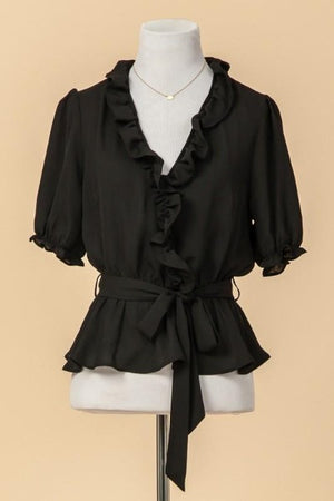 Ruffled Waist Tie Top