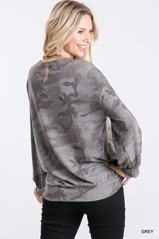 Camo Surplice Top