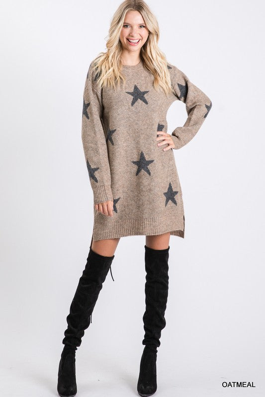 Star Print Sweater Dress