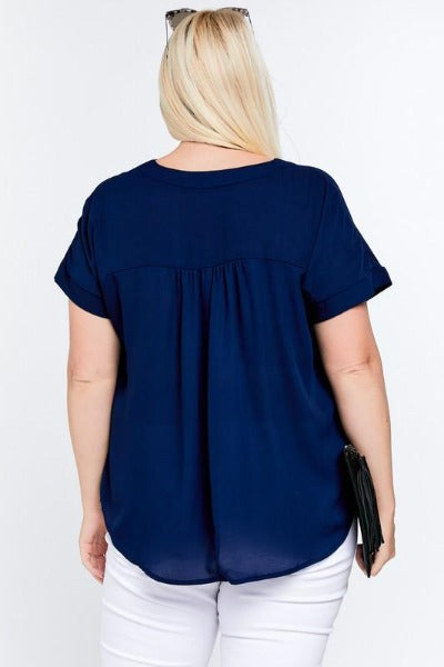 Plus Poly V-Neck Top