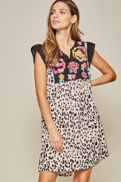 Embroidered Front Leopard Dress