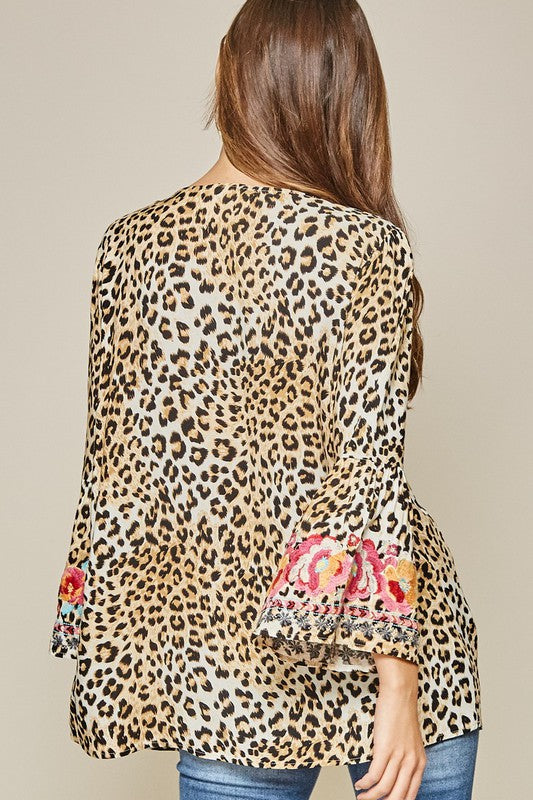 Embroidered Leopard Tunic Top