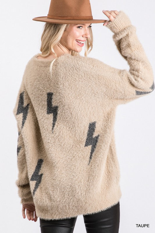 Fuzzy Lightning Bolt Sweater