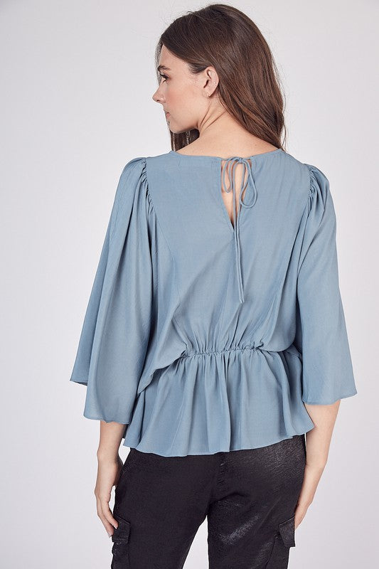 Tie Back Elastic Waist Top