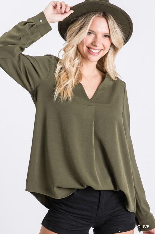 Long Button Sleeve Solid Top