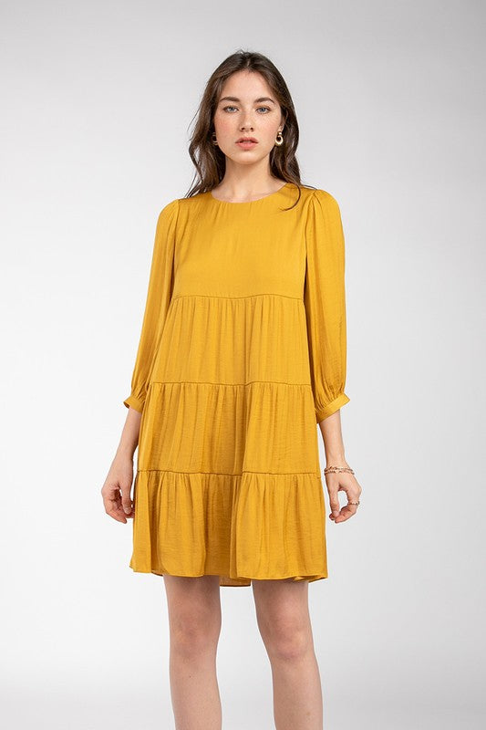 3/4 Sleeve Tiered Poly Dress