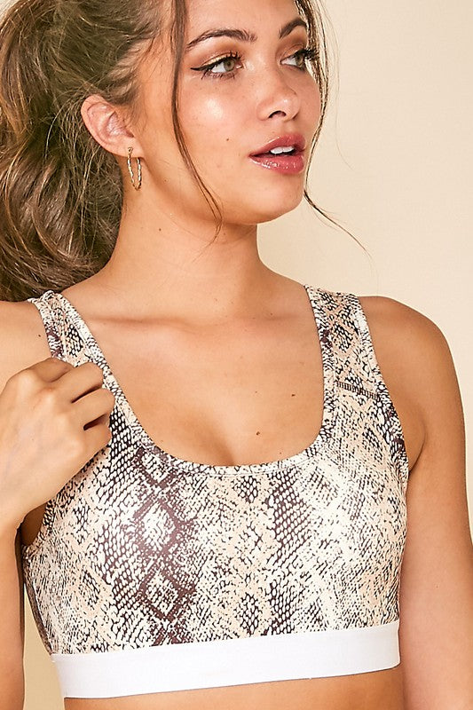 Contrast Band Snakeskin Bra Crop Top