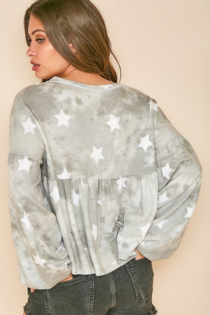 Star Print Gathered Top