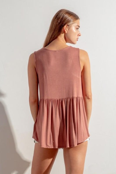Sleeveless V-Neck Babydoll Top
