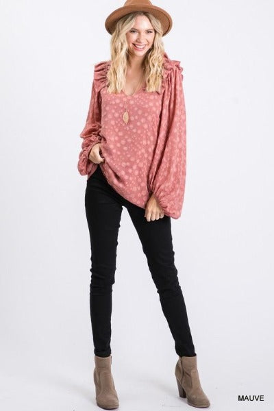 Ruffle Shoulder Textured Dot Top