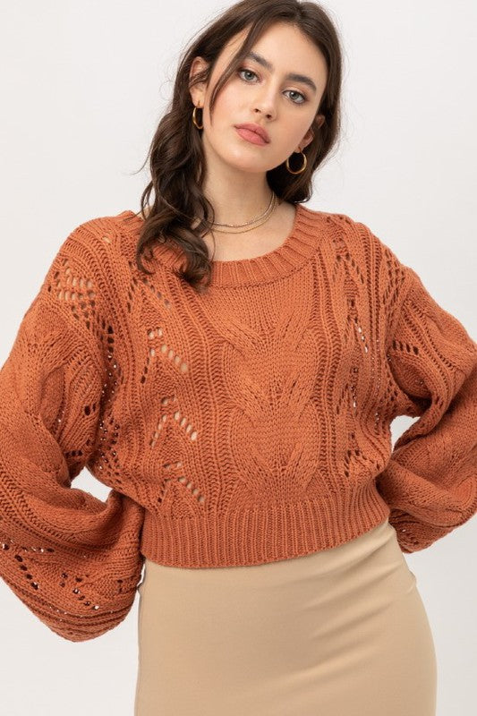 Acrylic Yarn Crop Sweater