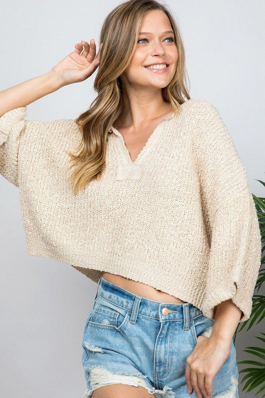 Slouchy Crop Patch Sweater