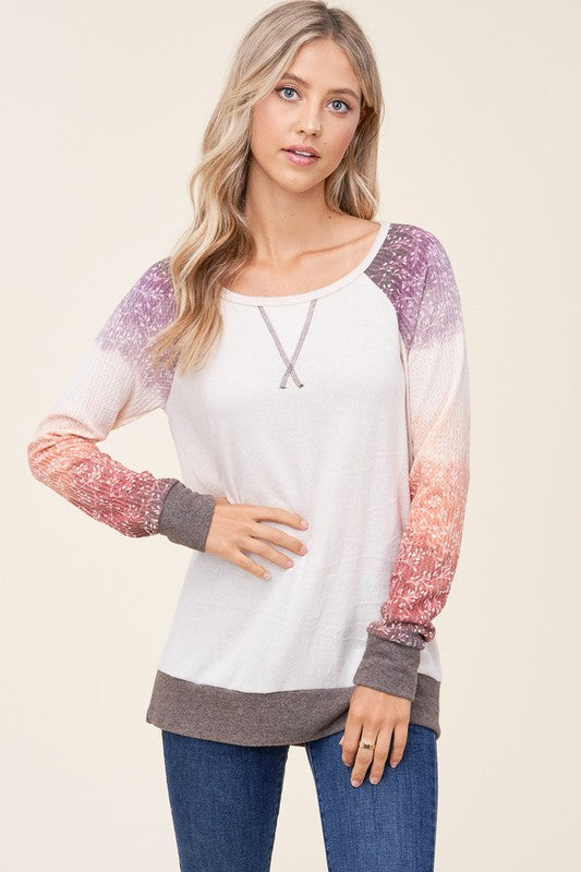 Ombre Print Sleeve Brushed Top