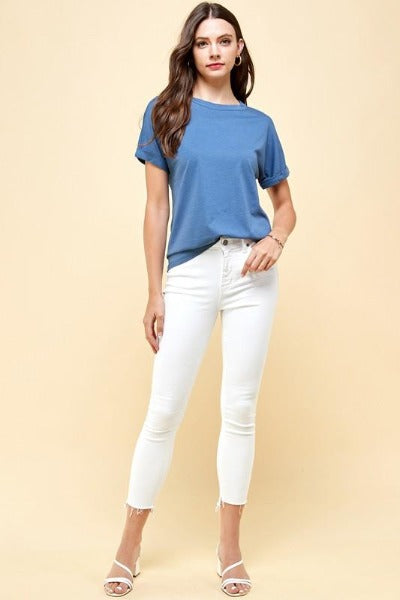 Supima Roll Sleeve Top