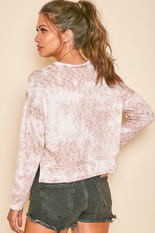 Marled Knit LS Crop Top