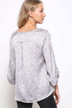 Satin VNeck Animal Print Top