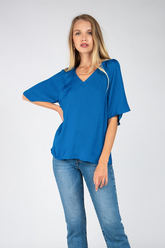 Shoulder Pleat VNeck Blouse