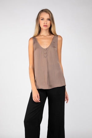 Button Front Woven Tank Top