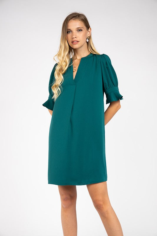 Woven Pleat Front Half Sleeve Dress