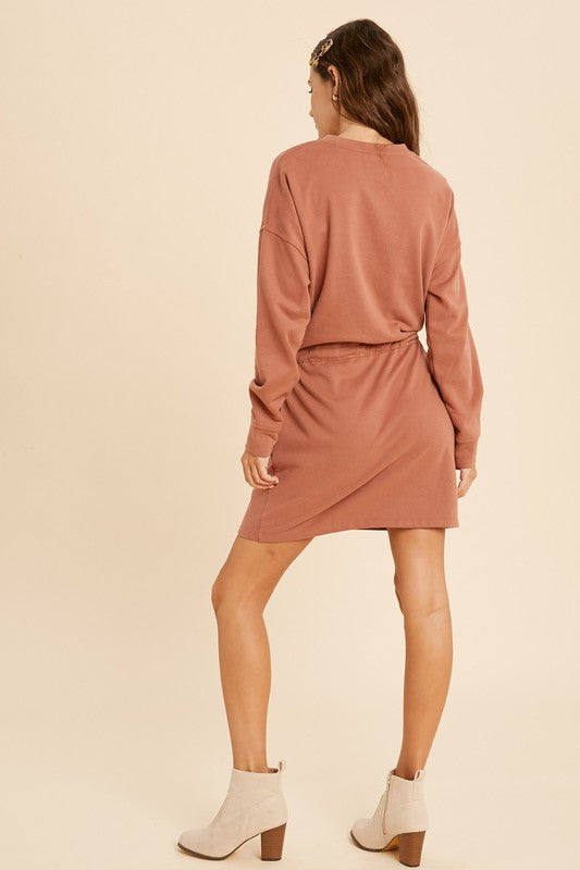 Drawstring Waist Solid Knit Dress