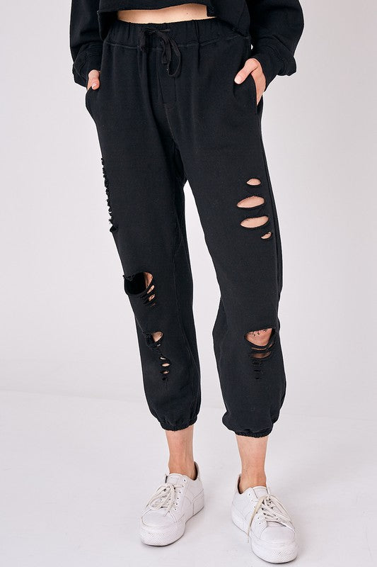 Distressed Detail Jogger Sweatpants
