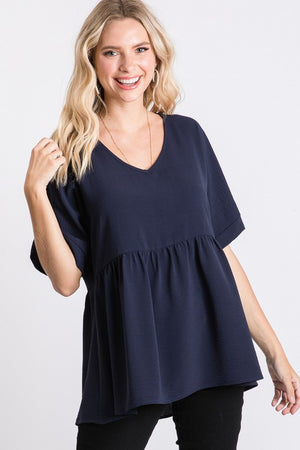 V-Neck Solid Babydoll Top