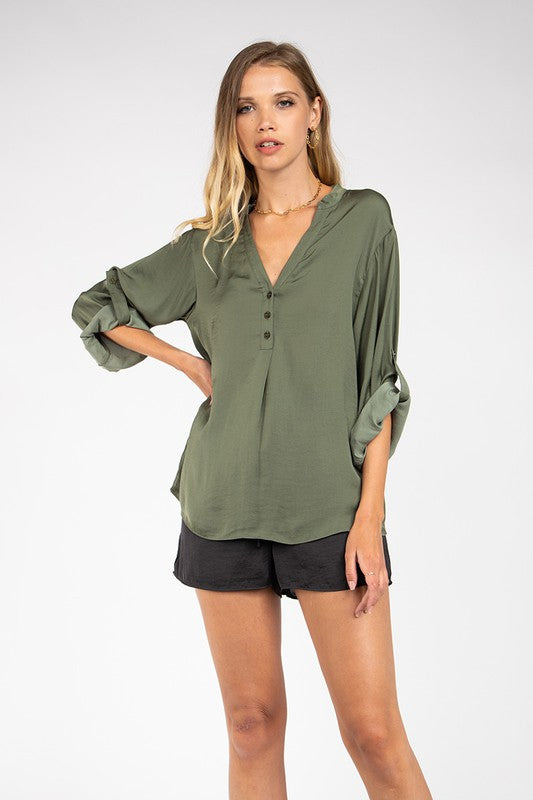 Tab Collar Roll Sleeve Blouse