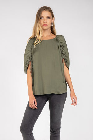 Ruched Arm Tie Sleeve Blouse