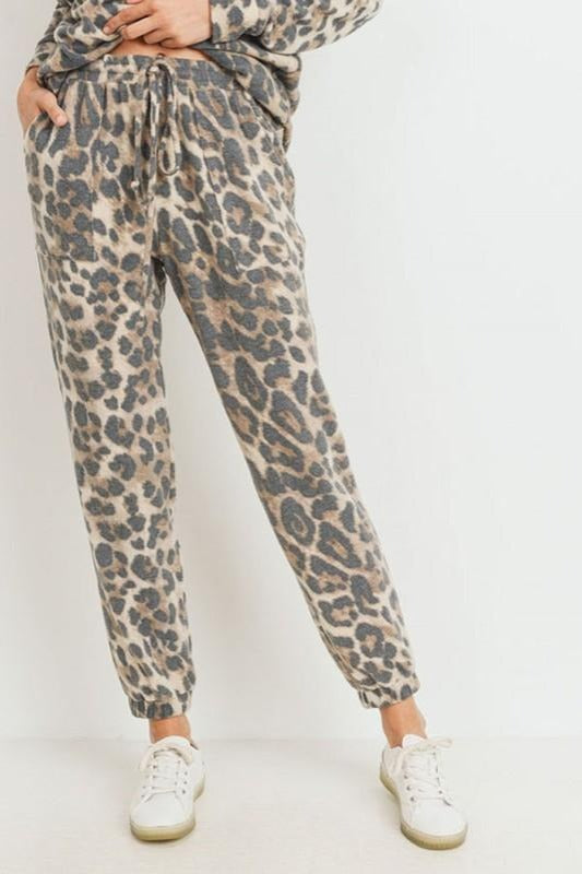 Brushed Leopard Print Jogger Pants