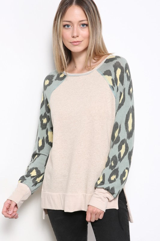 French Terry Leopard Sleeve Top