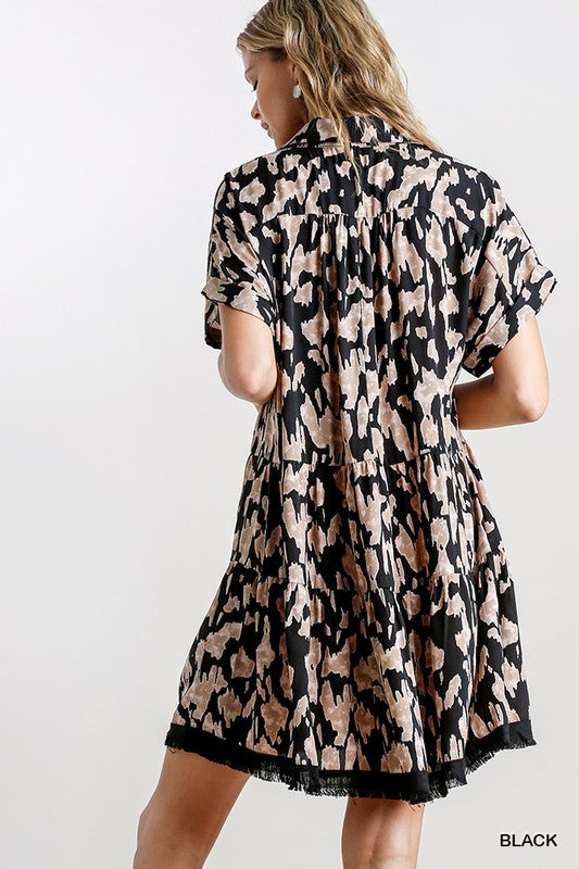 Animal Split Collar Dress
