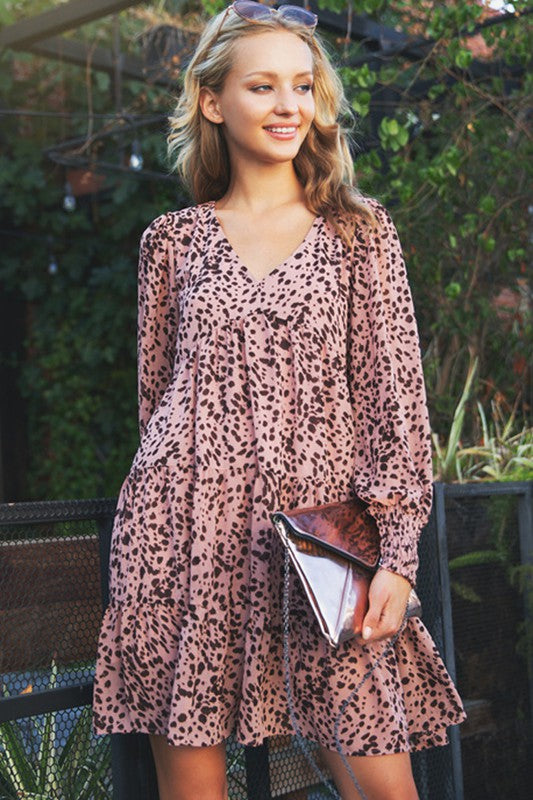 Animal Dot Balloon Sleeve Dress