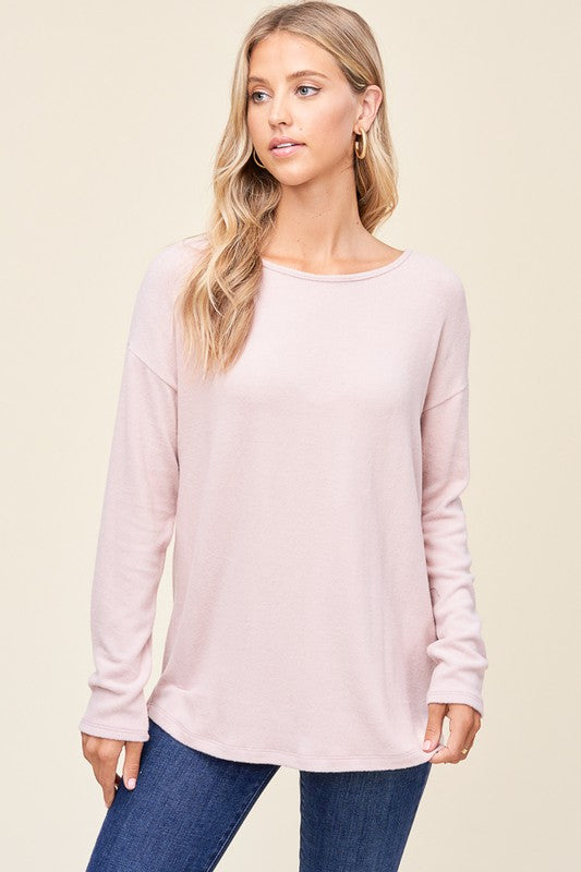 Round Neck Solid Brushed Top