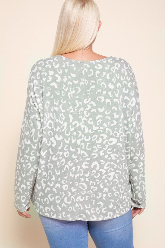 Plus Cheetah Print LS Casual Top
